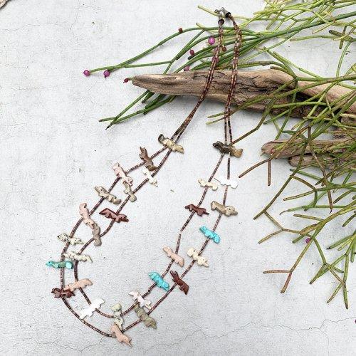 Vintage Shell Beads Fetish Animal Necklace 2
