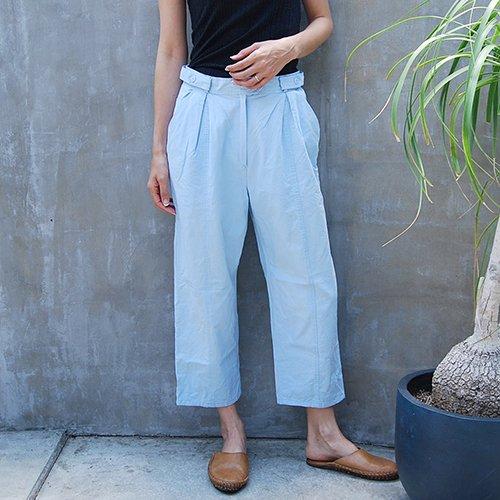 Blue Cotton Wide Pants