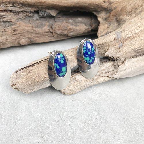 Blue Stone Stud Earring
