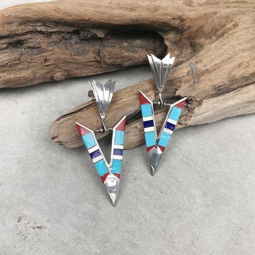 Turquoise Inlay Dangle Earring