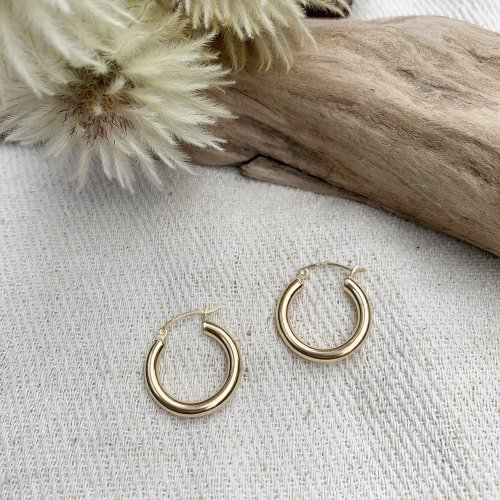 14K Solid gold Hoop Earring