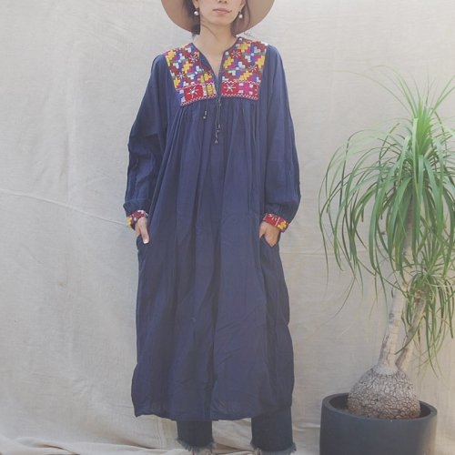 Vintage Navy Embroidery Long Onepiece