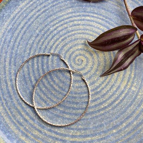 TAXCO Silver Hoop Earring 60.5 Glitter