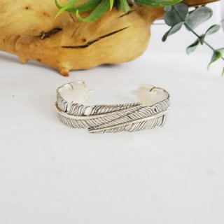 Silver Double Feather bangle