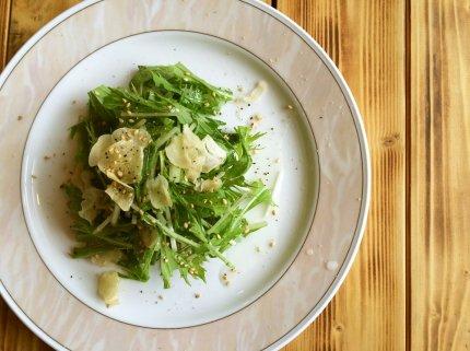 シャキシャキ♪水菜のガーリック米油サラダ