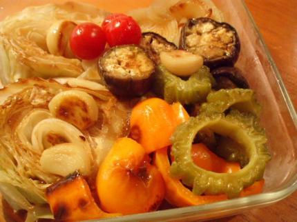 にんにくと夏野菜の焼きびたし