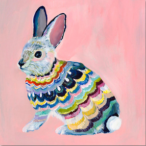 Easter Bunny  ピンクうさぎ 額付き 最終セール  手元在庫