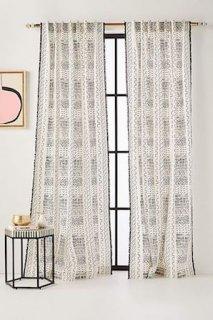 Shayla Curtainカーテン 2枚セット ブラック (関税送料消費税込)