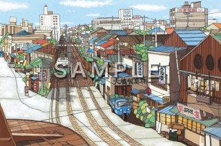 もふもふ堂  絵ハガキ 「市電の走る風景」  (神戸駅より相生町を望む)