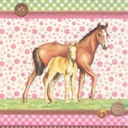 廃盤 SIGNED HORSES サインド・ホース 親子の馬 ボタン ピンク 1枚 バラ売り 33cm ペーパーナプキン デコパージュ Ambiente