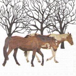 廃盤 Winter Horses ウィンター・ホース 冬の馬 Two Can Art 1枚 バラ売り 33cm ペーパーナプキン 紙ナプキン デコパージュ ppd