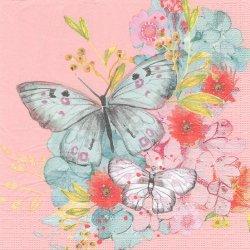 Louise Butterfly ルイーズ・バタフライ 蝶 シャーベットオレンジ Louise Tiller 1枚 バラ売り 33cm ペーパーナプキン デコパージュ ppd