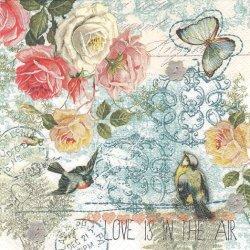 LOVE IS IN THE AIR 蝶と薔薇のコラージュ 小鳥 1枚 バラ売り 33cm ペーパーナプキン デコパージュ Paw