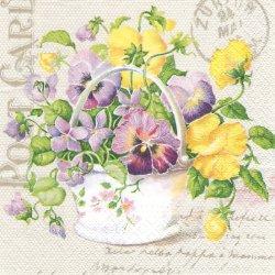 チュールレースとパンジー、菫のバスケット 1枚 バラ売り 33cm ペーパーナプキン デコパージュ Paw