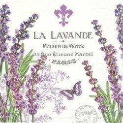 LA LAVANDE ラベンダーと蝶 パープル ラベル柄 1枚 バラ売り 33cm ペーパーナプキン デコパージュ ppd