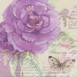 ラベンダー色の水彩画の薔薇と蝶 パープル 1枚 バラ売り 33cm ペーパーナプキン デコパージュ Paw