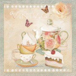薔薇のティーセットとケーキ、蝶 1枚 バラ売り 33cm ペーパーナプキン デコパージュ Paw