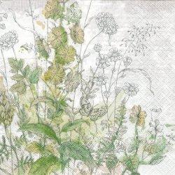 Meadow 繊細なタッチの花グリーン 緑 1枚 バラ売り 33cm ペーパーナプキン デコパージュ Paw