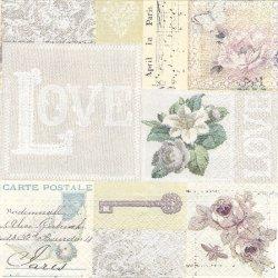 薔薇とポストカードのコラージュ 1枚 バラ売り 33cm ペーパーナプキン デコパージュ Paw