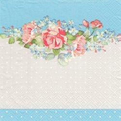 Summer Bouquet 薔薇とドット ライトブルー 1枚 バラ売り 33cm ペーパーナプキン デコパージュ Paw