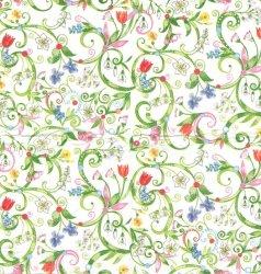 1枚/色々なお花とグリーンのスワール/21.5cm角/ポケットペーパーハンカチ・紙ハンカチ/ミニペーパーナプキン/デコパージュ