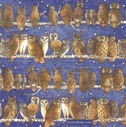 21.5cm エマ・ブリッジウォーター OWLS 夜空の星とミミズク ブルー Emma Bridgewater 1枚 バラ売り ペーパーハンカチ 紙ハンカチ デコパージュ Ihr