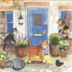 廃盤 玄関前の猫たち ねこ cat 1枚 バラ売り 33cm ペーパーナプキン デコパージュ Alex Clark