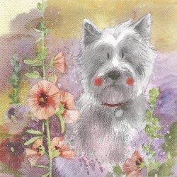 廃盤 マルチーズ犬とタチアオイ ドッグ 犬 1枚 バラ売り 33cm ペーパーナプキン デコパージュ Alex Clark