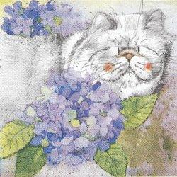 廃盤 紫陽花と太ったぶさ猫 1枚 バラ売り 33cm ペーパーナプキン デコパージュ Alex Clark