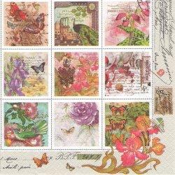 Vintage Style Stamps 花の切手 1枚 バラ売り 33cm ペーパーナプキン デコパージュ Maki