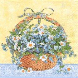 廃盤 わすれな草とデイジーのバスケット 1枚 バラ売り 33cm ペーパーナプキン デコパージュ Maki