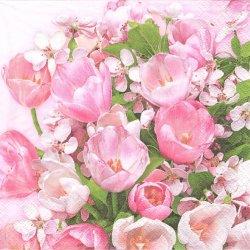 Pink Tulips & Cherry Blossom ピンクのチューリップと桜 春 1枚 バラ売り 33cm ペーパーナプキン デコパージュ Maki