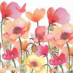 Aquarell Poppies & Daisies 水彩のポピーとデイジー Nigel Quiney 1枚 バラ売り 33cm ペーパーナプキン デコパージュ ppd