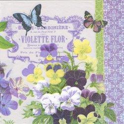 Vintage Violets ヴィンテージ・バイオレット 菫 すみれ Paula Scatta 1枚 バラ売り 33cm ペーパーナプキン デコパージュ ppd