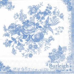バーレイ ASIATIC PHEASANT ブルー 薔薇のブーケ Burleigh 1枚 バラ売り 33cm ペーパーナプキン Ihr