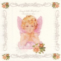 ピンクの羽のエンジェル 天使 1枚 ばら売り 33cm ペーパーナプキン 紙ナプキン デコパージュ unknown
