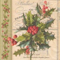 Christmas holly クリスマスのひいらぎの枝 Tina Higgins 1枚 ばら売り 33cm ペーパーナプキン 紙ナプキン デコパージュ Paper+Design