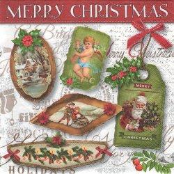 廃盤 Christmas labels サンタクロースと天使 エンジェルのギフトカード 1枚 ばら売り 33cm ペーパーナプキン 紙ナプキン デコパージュ Paper+Design