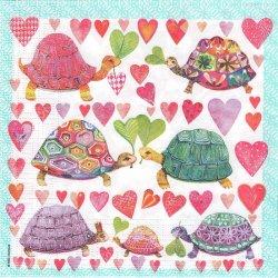 Turtles in Love カラフルトータス Mila Marquis 1枚 バラ売り 33cm ペーパーナプキン デコパージュ ppd