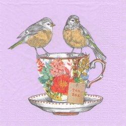 Tea for Two Birds ティーカップに2羽の小鳥 ライラック Louise Tiller 1枚 バラ売り 33cm ペーパーナプキン デコパージュ ppd