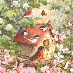 廃盤 Busy Birdhouse 桜のバードハウス 1枚 バラ売り 33cm ペーパーナプキン デコパージュ HOME FASHION