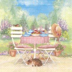Lunch on Garden Table 屋外ランチ 猫のお昼ね 1枚 バラ売り 33cm ペーパーナプキン デコパージュ ti-flair