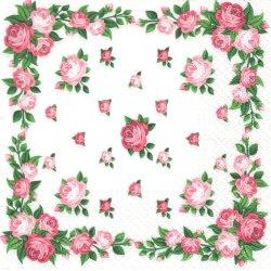 薔薇のフレーム ピンク 1枚 バラ売り 33cm ペーパーナプキン 紙ナプキン デコパージュ TETE a TETE