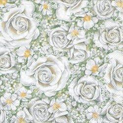 ROMANTIC ROSES 白薔薇 ロマンティックローズ 1枚 バラ売り 33cm ペーパーナプキン デコパージュ Ihr
