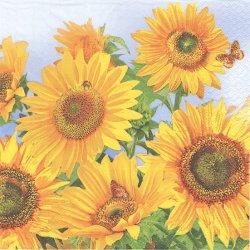 Sunflowers in the Sky ひまわり 青空 向日葵 1枚 バラ売り 33cm ペーパーナプキン デコパージュ Daisy