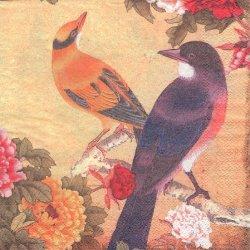 和柄 日本画 花鳥柄 鳥2羽と牡丹と蝶 1枚 バラ売り 33cm ペーパーナプキン デコパージュ Unknown
