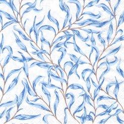 Azure Leaves ブルー・ウィロー 葉っぱ 1枚 バラ売り 33cm ペーパーナプキン デコパージュ HOME FASHION