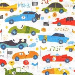 廃盤人気柄 CAR RACE 乗り物柄 レーシング・カー 車 男児向き 1枚 バラ売り 33cm ペーパーナプキン Ihr