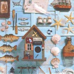 Nautica フィッシュ 魚 海 コラージュ柄 1枚 バラ売り 33cm ペーパーナプキン デコパージュ Nouveau