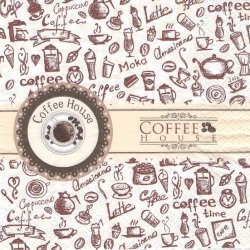 Coffee house コーヒーハウスのラベル柄 1枚 バラ売り 33cm ペーパーナプキン デコパージュ HOME FASHION